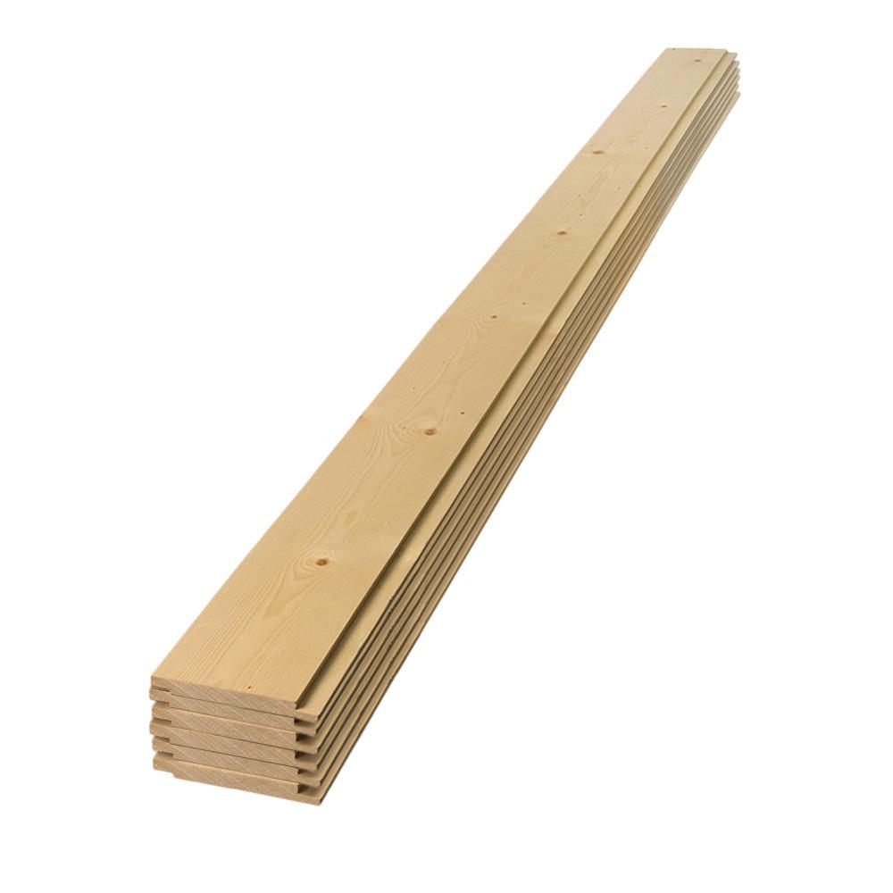 1 in. x 6 in. x 4 ft. Square Edge Pine Shiplap Board (6-Pack)