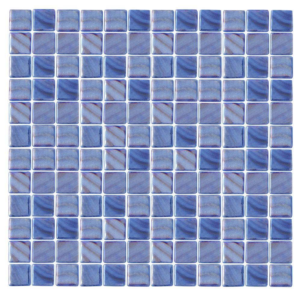 Epoch Architectural Surfaces Irridecentz I-Blue-1414 Mosaic Recycled Glass 12 in. x 12 in. Mesh Mounted Tile (5 sq. ft. / case)