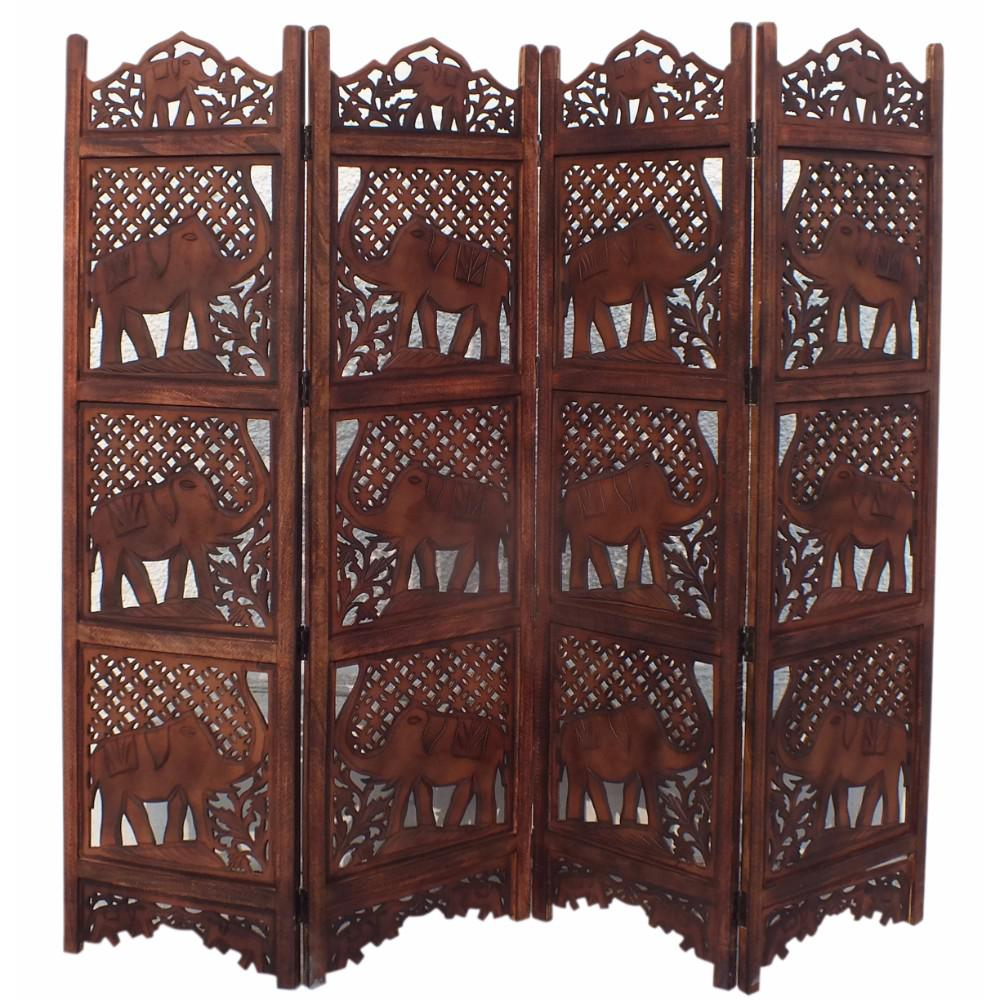 Benzara Hand Carved Elephant Design Foldable 4 Panel Wooden Room Divider Brown