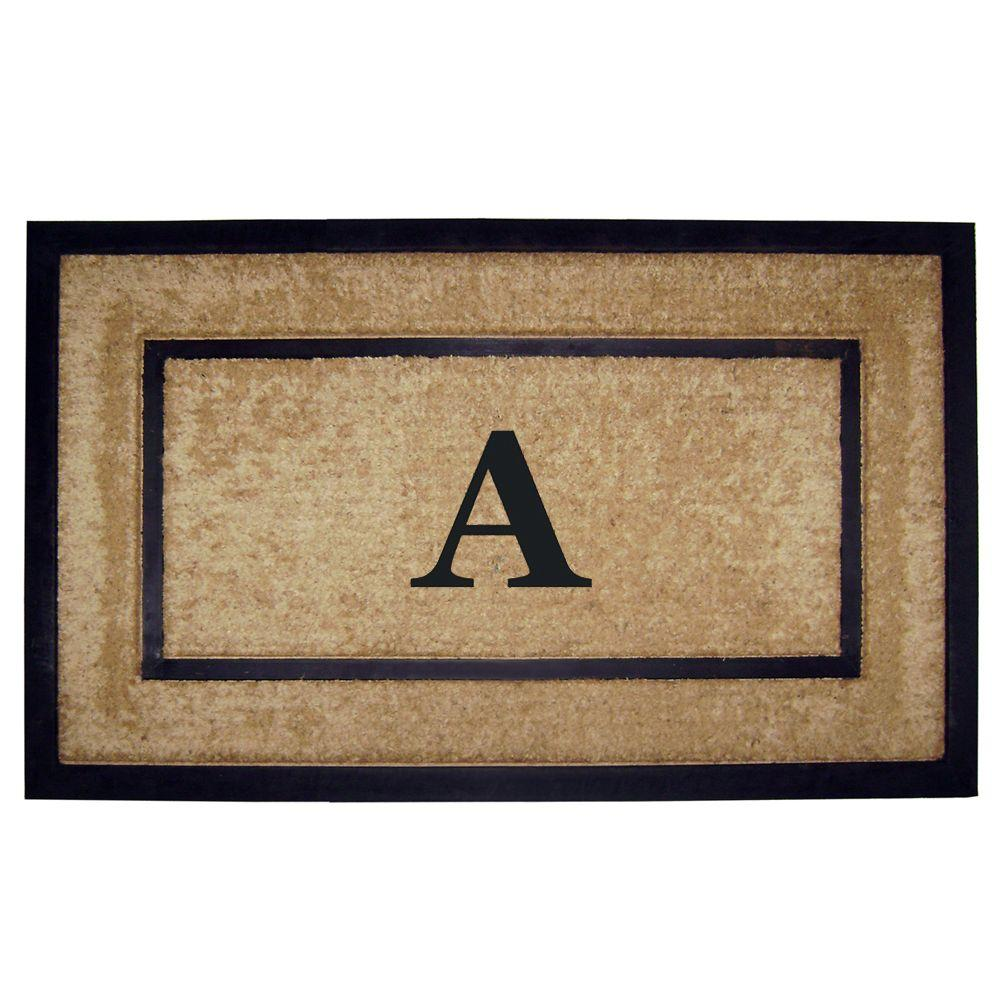 Nedia Home DirtBuster Single Picture Frame Black 22 in. x 36 in. Coir with Rubber Border Monogrammed A Door Mat
