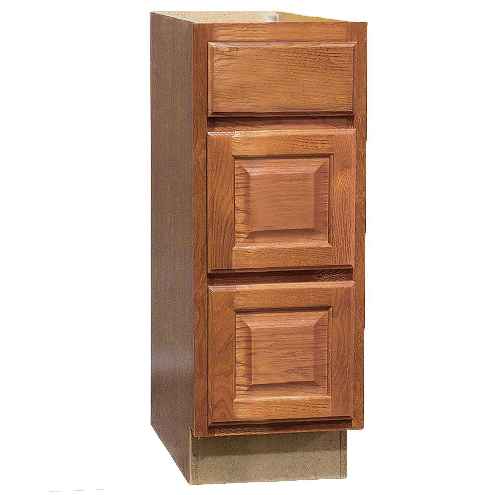 Hampton Assembled 12x34.5x21 in. Bathroom Vanity Drawer Base Cabinet with Ball-Bearing Drawer Glides in Medium Oak