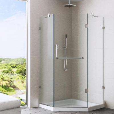 Piedmont 40.25 in. x 76.75 in. Semi-Framed Neo-Angle Shower Door in Chrome with Clear Glass
