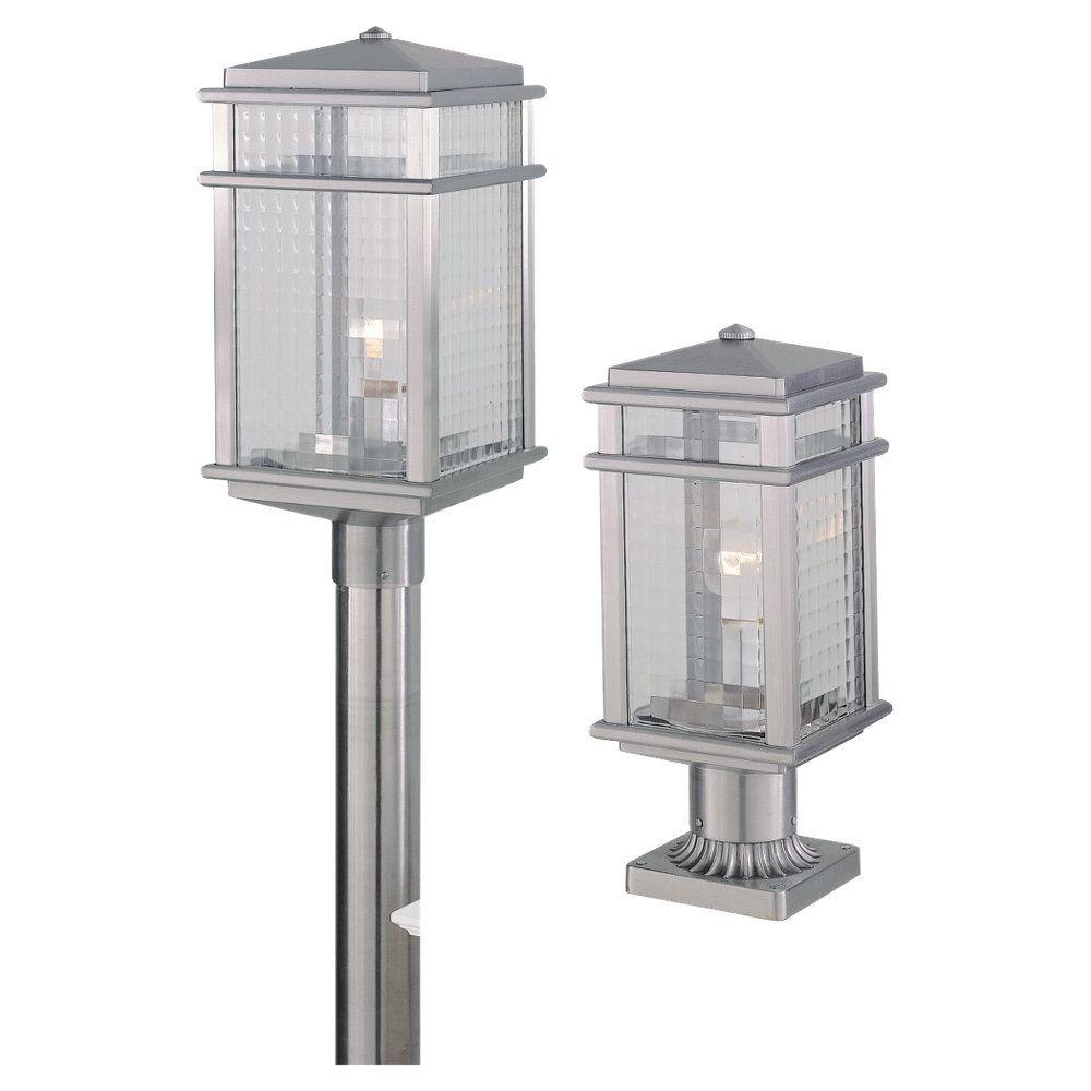 Murray Feiss Post Base: Feiss Mission Lodge 1-Light Brushed Aluminum Outdoor Post