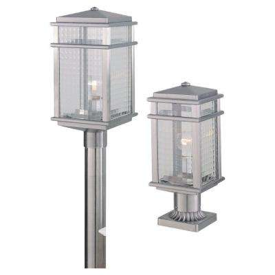Mission Lodge 1-Light Brushed Aluminum Outdoor Post Light