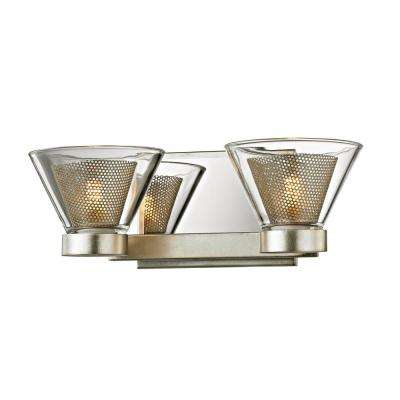 Wink 2-Light Silver Leaf 12.5 in. W LED Bath Light with Polished Chrome Accents and Clear Glass Shade