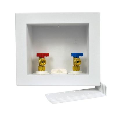 Quadtro 1/2 in. x 1/2 in. PEX Compatible Washing Machine Outlet Box with 1/4 Turn Valves