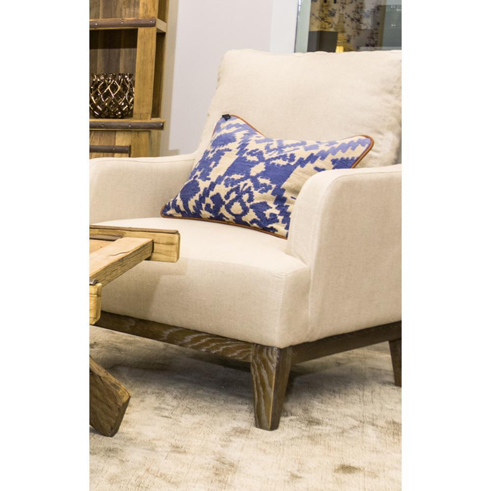Carrara Indigo Linen 14 in. x 20 in. Rectangle Pattern Decorative Pillow