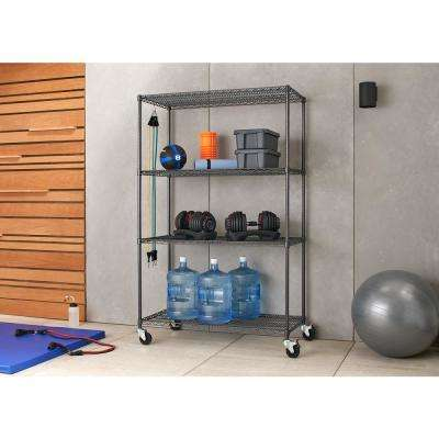 PRO 24 in. x 48 in. x 77 in. Black Anthracite 4 Tier Garage Shelving Unit with Wheels