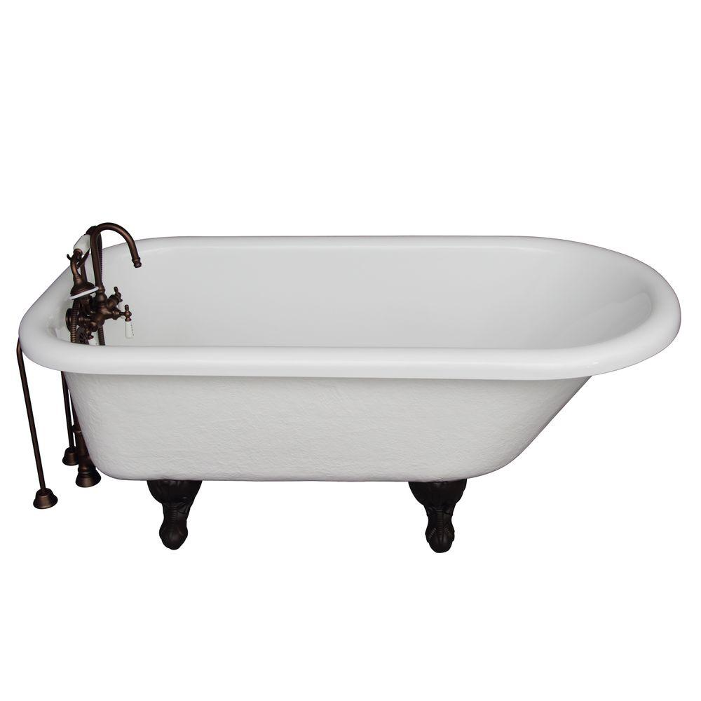 Barclay Products 5 ft. Acrylic Ball and Claw Feet Roll Top Tub in White with Oil Rubbed Bronze Accessories