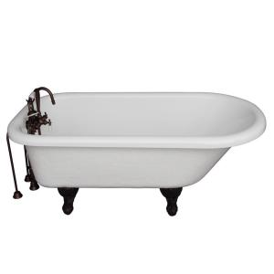 Barclay Products 5 ft. Acrylic Ball and Claw Feet Roll Top Tub in White with Oil Rubbed Bronze Accessories by Barclay Products