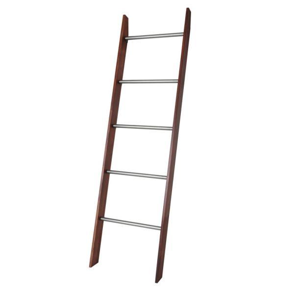 72 in. Brown Wood 5-shelf Ladder Bookcase with Open Back