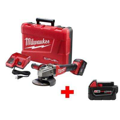 M18 FUEL 18-Volt Lithium-Ion Cordless Brushless 4-1/2 in./5 in. Grinder Lock-On with Free M18 18-Volt XC 5.0Ah Battery