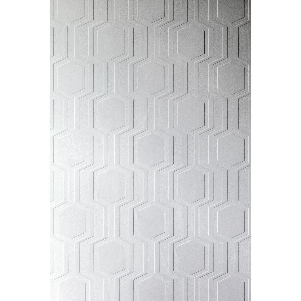 56.4 sq. ft. Hex Paintable Geometric Wallpaper