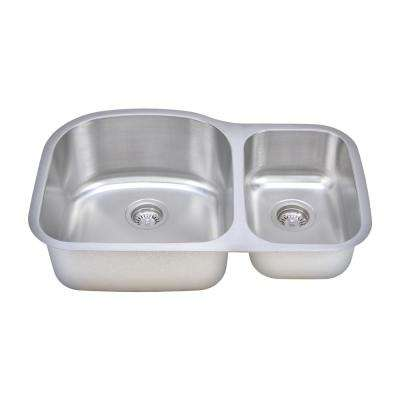 The Craftsmen Series Undermount Stainless Steel 31 in. 70/30 Double Bowl Kitchen Sink
