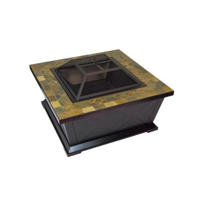 36 in. W x 21 in. H Square Metal Wood Burning Outdoor Leisure Fire Pit with Decorative Slate Hearth