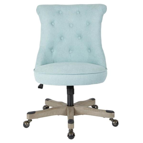 Hannah Mint Fabric Tufted Office Chair with Grey Wood Base
