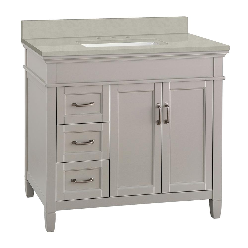 Home Decorators Collection Ashburn 37 in. W x 22 in. D Vanity Cabinet in Grey with Engineered Marble Vanity Top in Dunescape with White Sink