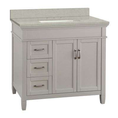 Ashburn 37 in. W x 22 in. D Vanity Cabinet in Grey with Engineered Marble Vanity Top in Dunescape with White Sink