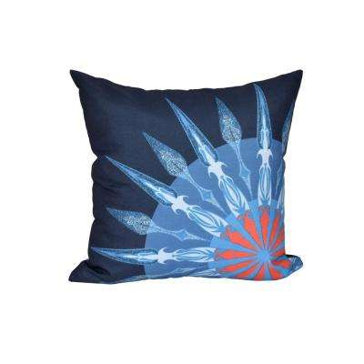 16 in. x 16 in. Navy Blue Sailor's Delight Geometric Print Pillow