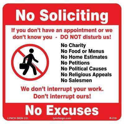 12 in. x 12 in. No Soliciting Sign Printed on More Durable Thicker Longer Lasting Styrene Plastic