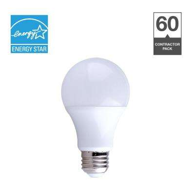 60-Watt Equivalent A19 Dimmable Contractor Pack Quick Install LED Light Bulb (60-Pack)