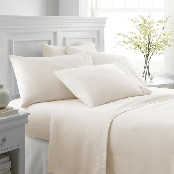 Becky Cameron Performance Ivory Twin 6-Piece Bed Sheet Set IEH-6PC-TW-IV