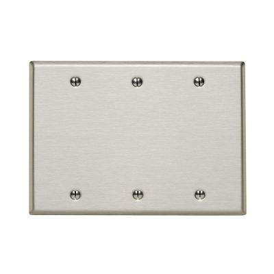 3-Gang No Device Blank Wallplate, Standard Size, 302 Stainless Steel, Box Mount, Stainless Steel