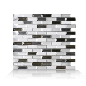 Murano Metallik Grey 10.20 in. W x 9.10 in. H Peel and Stick Self-Adhesive Decorative Mosaic Wall Tile Backsplash