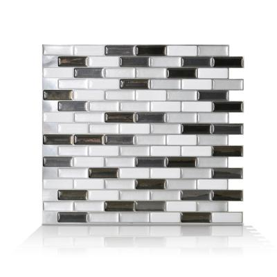 Murano Metallik Black, Grey and White 10.20 in. W x 9.10 in. H Decorative Mosaic Wall Tile Backsplash (4-Pack)