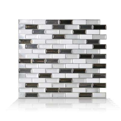 Fabulous Murano Metallik Black Grey And White 10 20 In W X 9 10 In H Decorative Mosaic Wall Tile Backsplash 4 Pack Home Remodeling Inspirations Basidirectenergyitoicom
