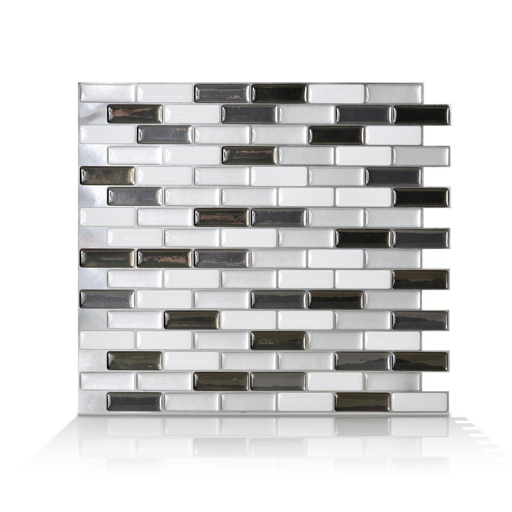 Murano Metallik Black, Grey and White 10.20 in. W x 9.10 in. H Decorative Mosaic Wall Tile Backsplash (4-Pack)