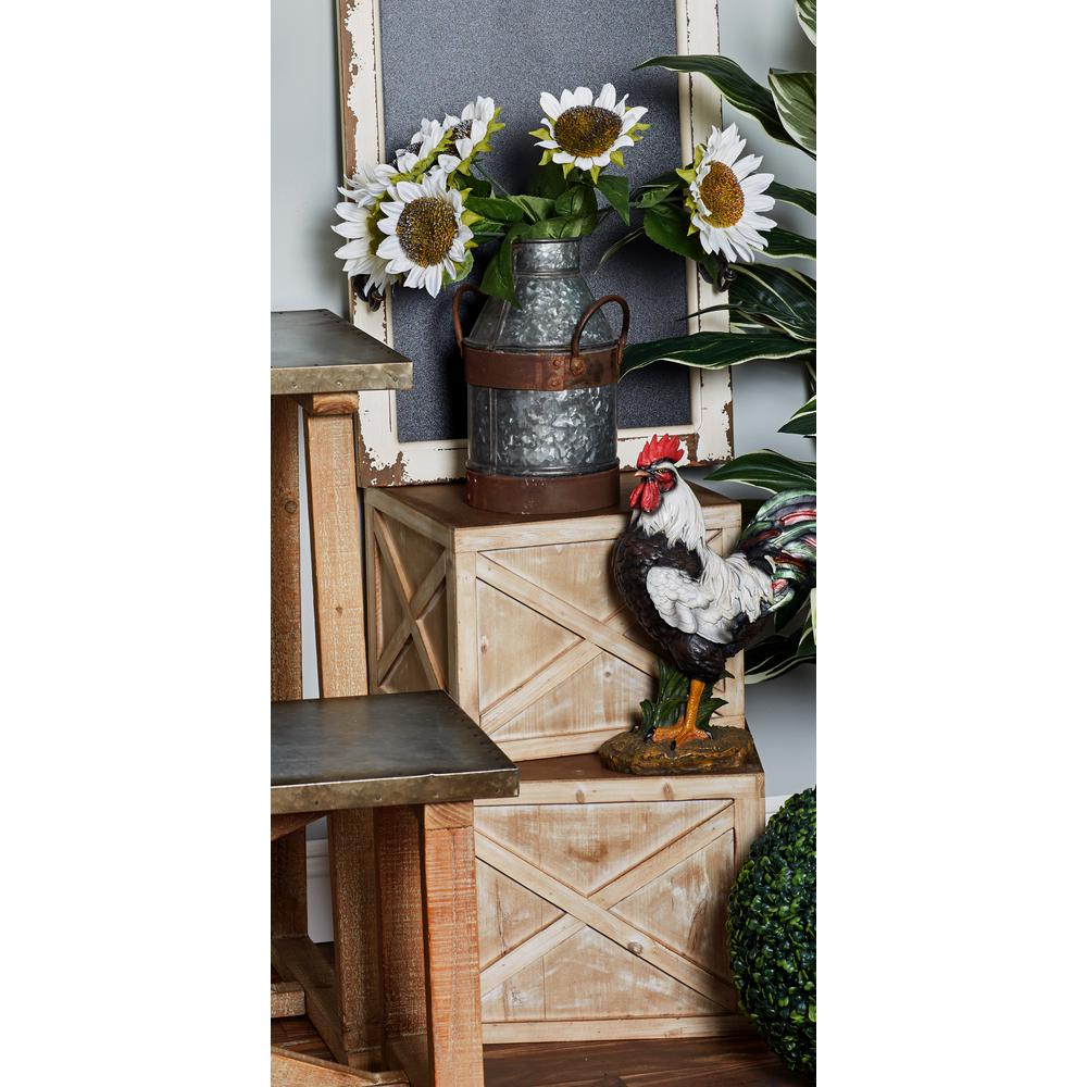 Brown Wooden Cube-Shaped Planters (Set of 3)