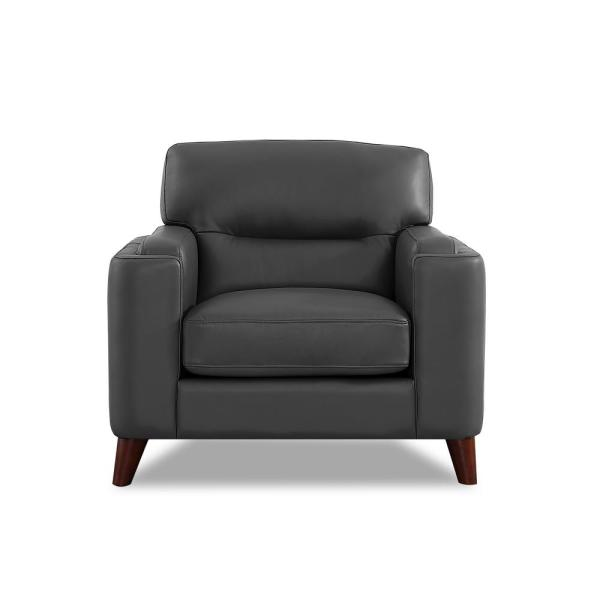 Elm Silver Gray 100% Leather Chair