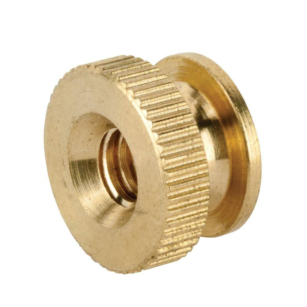 Crown Bolt 1 4 In 20 Brass Knurled Nut 3 Bag 99098 The Home Depot