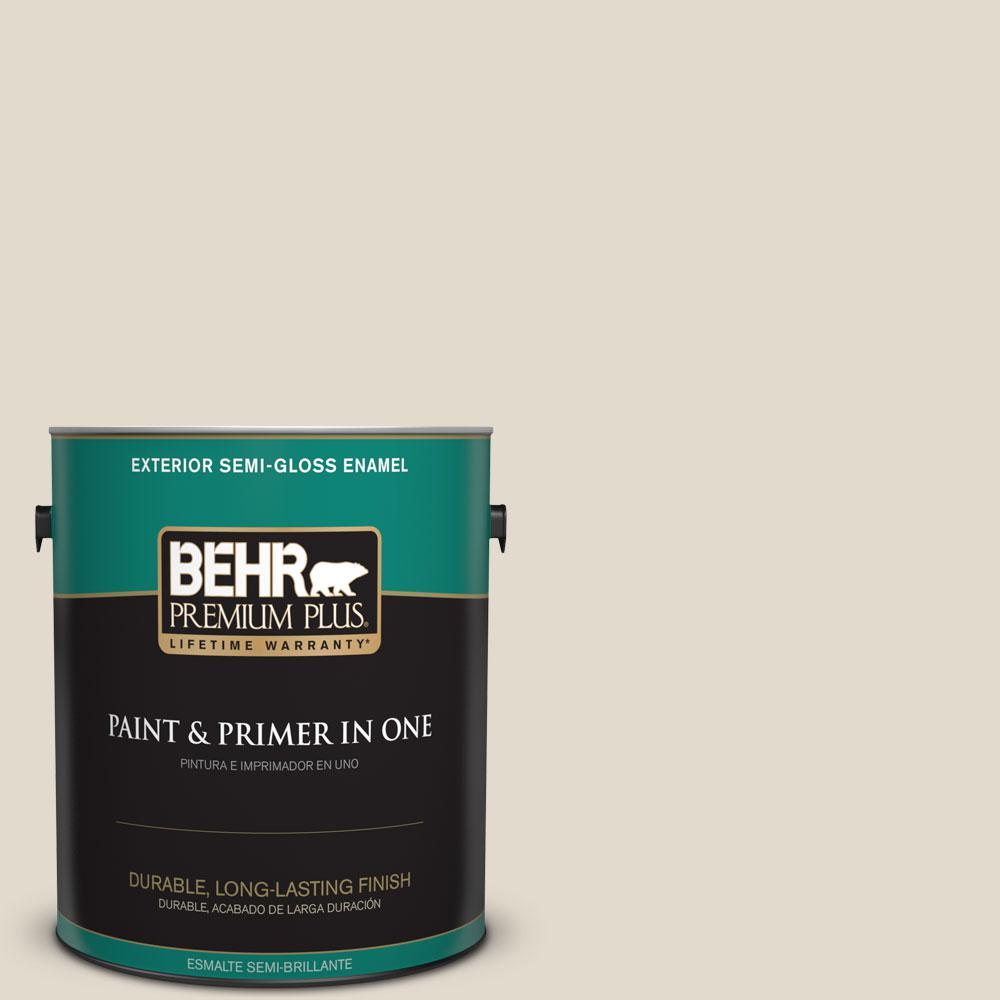 BEHR Premium Plus 1-gal. #W-B-720 Oyster Semi-Gloss Enamel Exterior Paint