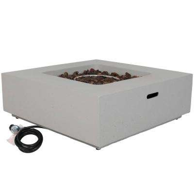 Contempo 34.75 in. x 12 in. Square Fiberglass/Reinforced Concrete Propane Gas Fire Pit with Outdoor Cover and Lava Rocks