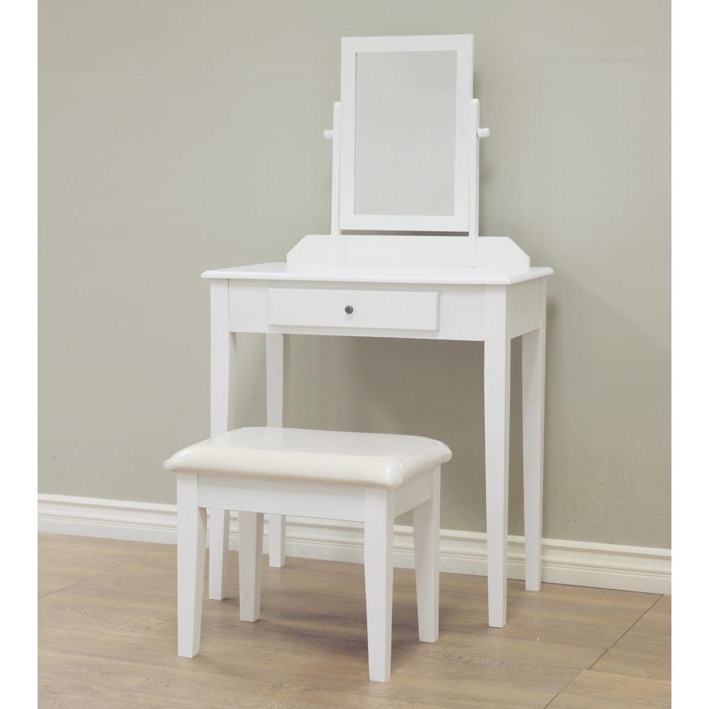 3 Piece White Vanity Set. Makeup Vanities   Bedroom Furniture   The Home Depot