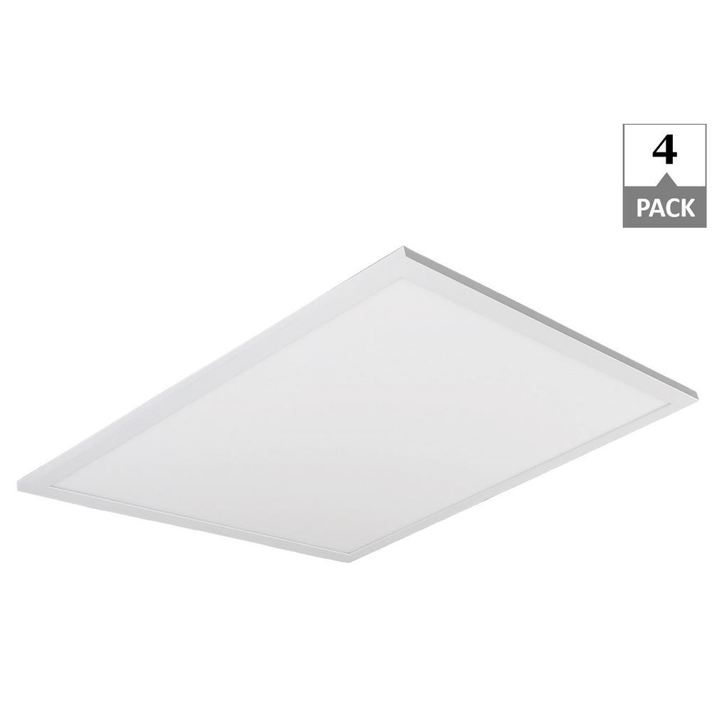 40-Watt 2 ft. x 2 ft. White Integrated LED Flat Panel 5000K (4-Pack)