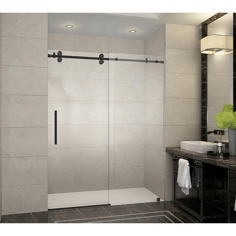 langham 60 in x 75 in frameless sliding shower door in oil rubbed bronze with handle