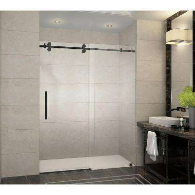 Langham 60 in. x 75 in. Frameless Sliding Shower Door in Oil Rubbed Bronze with Handle