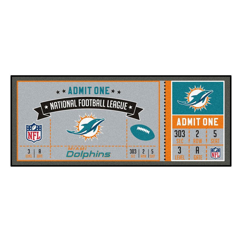 NFL - Miami Dolphins 30 in. x 72 in. Indoor Ticket Runner Rug