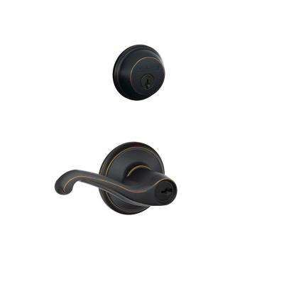 Aged Bronze Single Cylinder Deadbolt with Flair Entry Door Lever Combo Pack