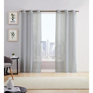 Hannah 38in. W x 96in. L Semi Sheer Grommet Window Panel Pair (2-Pack) Grey
