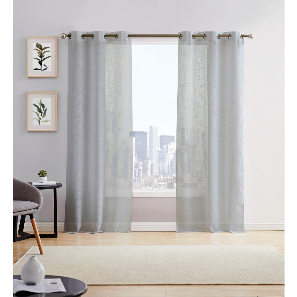Hannah 38in. W x 96in. L Semi Sheer Grommet Window Panel Pair (2-Pack) Grey