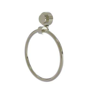 Venus Collection Towel Ring with Groovy Accent in Polished Nickel