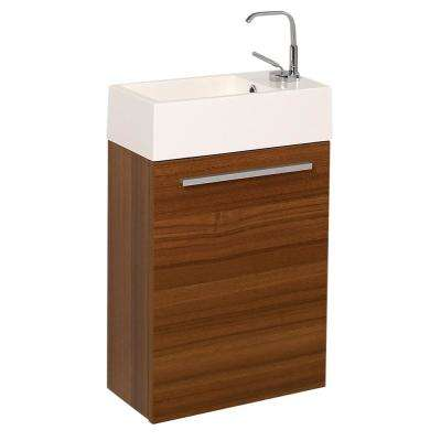 Pulito 16 in. Modern Wall Hung Bath Vanity in Teak with Vanity Top in White with White Basin