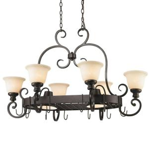 Dalian Collection 8-Light Burnt Sienna Pot Rack Chandelier by