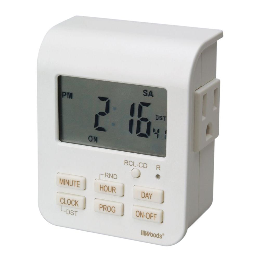 Woods 7-Day Digital Indoor Heavy Duty Timer with 2 Outlets 3 Conductor - White