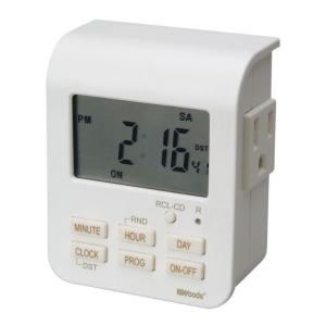 Woods 7-Day Digital Indoor Heavy Duty Timer with 2 Outlets 3 Conductor - White by Woods