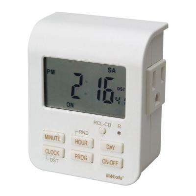 15-Amp 7-Day Indoor Plug-In Heavy-Duty Dual-Outlet Digital Timer, White